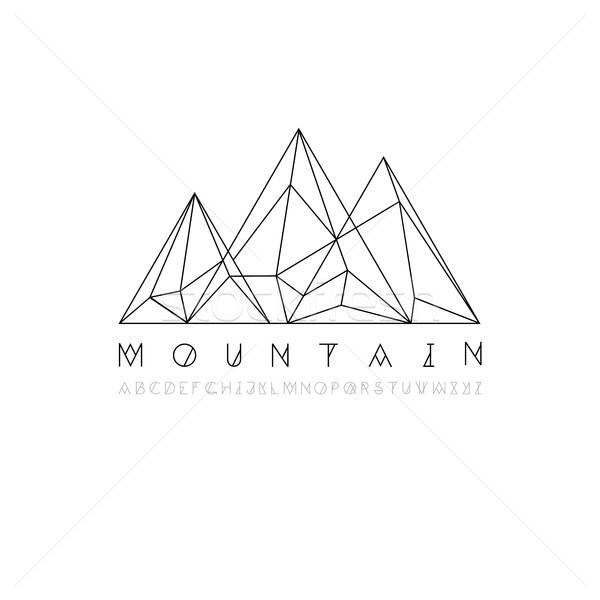 Montanha linha ícone vetor logotipo Foto stock © pashabo