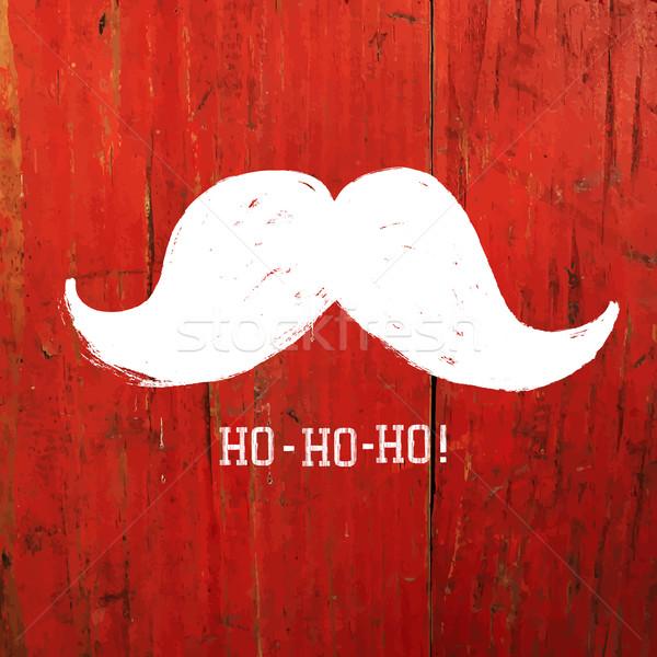 White Santa's Moustache and Ho-Ho-Ho! words. Christmas funny car Stock photo © pashabo