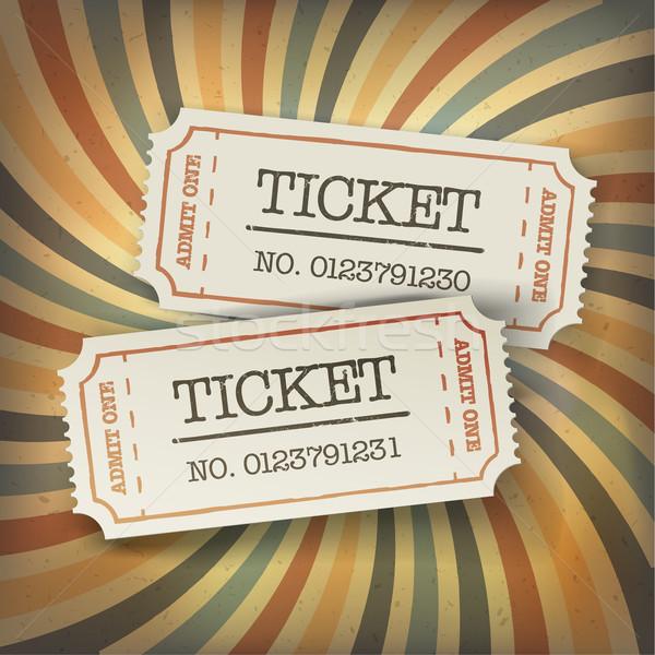 Two cinema tickets. On retro sunburst background Stock photo © pashabo