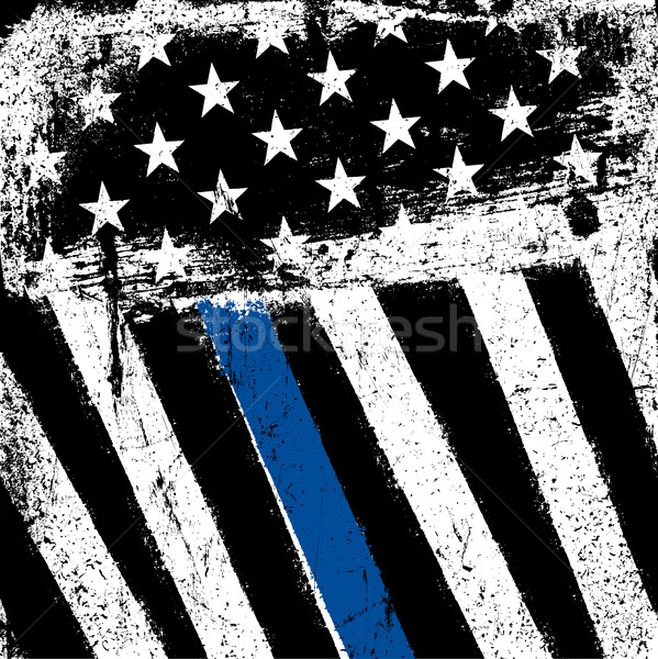 American Flag with Thin Blue Line. Grunge Patriotic Background. Stock photo © pashabo