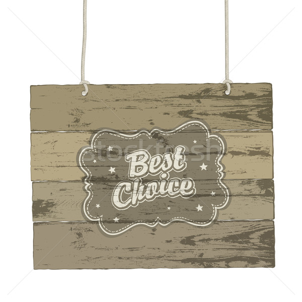 Wooden sign with vintage label. Vector illustration, EPS8 Stock photo © pashabo