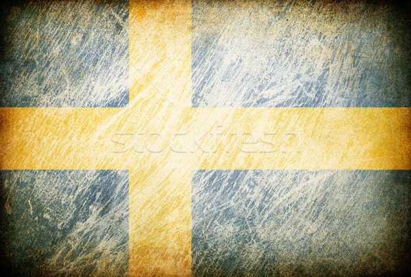 Grunge rubbed flag series of backgrounds. Sweden. Stock photo © pashabo
