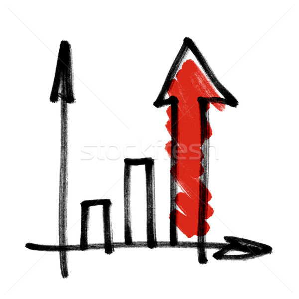 Successful business graph with red shaded arrow. Stock photo © pashabo