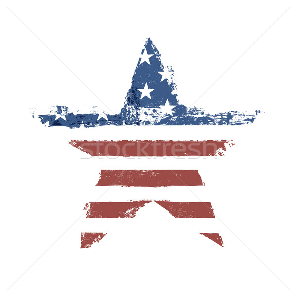 The American flag print as star shaped symbol. Vector, EPS10. Stock photo © pashabo