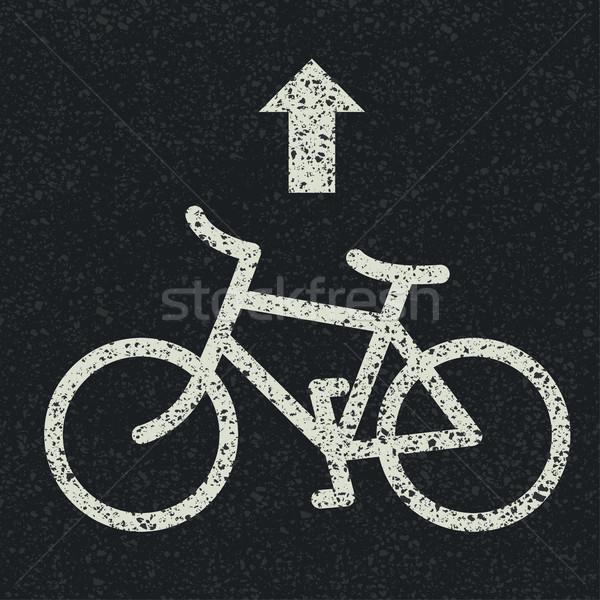 Bicikli jelzőtábla nyíl aszfalt vektor út Stock fotó © pashabo