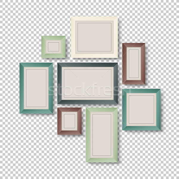 Group of Colorful Frames on Transparent Background Stock photo © pashabo