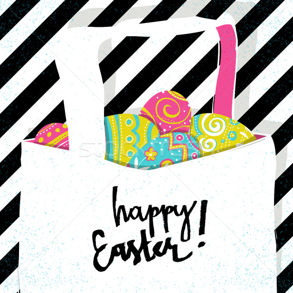 Stock photo: Retro greeting card. Basket with Easter eggs. Easter pop-art sty