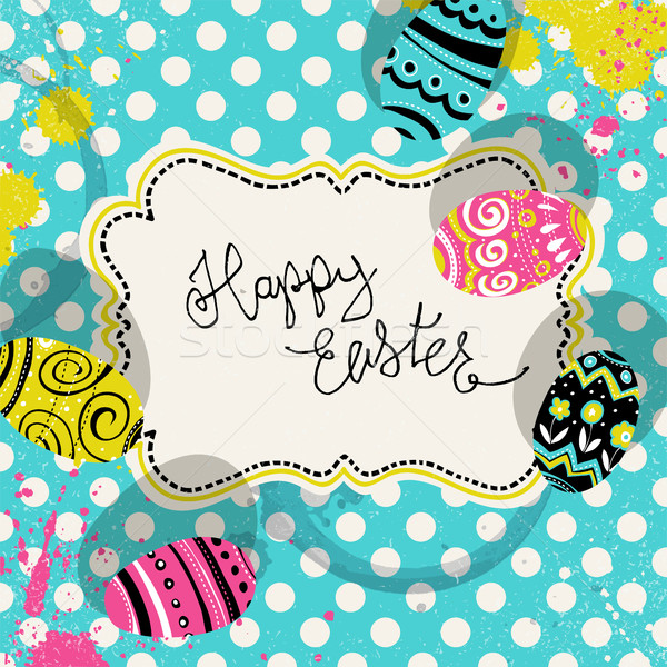 Happy Easter retro greeting card with vintage label and eggs. Po Stock photo © pashabo