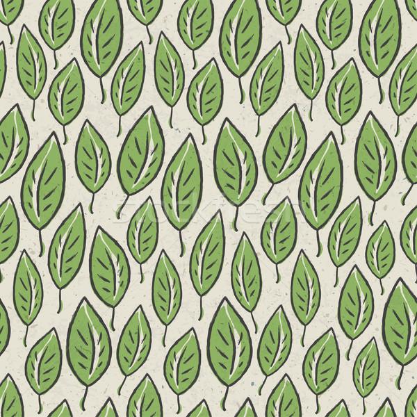 Stock photo: Green abstract leaf seamless pattern on recycle ecology paper te