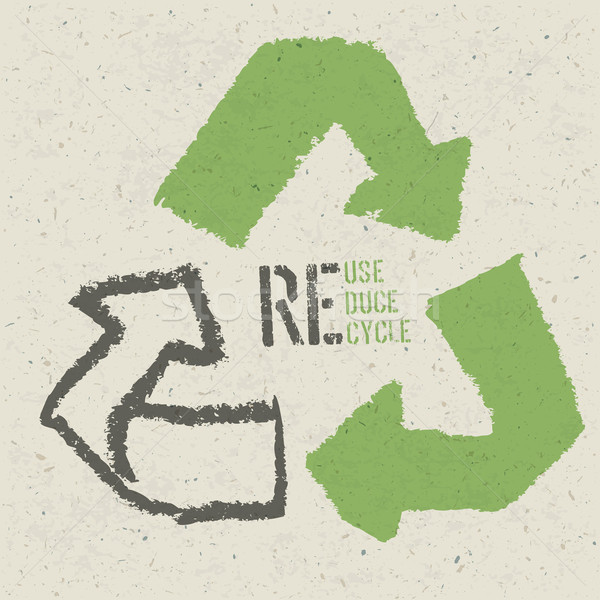 Reuse conceptual symbol and 'Reuse, Reduce, Recycle' text on Rec Stock photo © pashabo