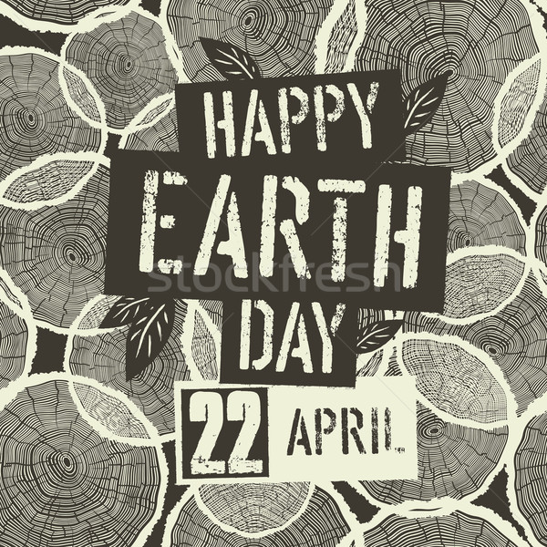 Boldog föld napja logotípus 22 randevú fa Stock fotó © pashabo