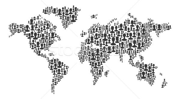The map of the world made of people silhouettes. Black on white  Stock photo © pashabo
