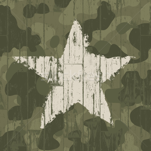 Stock photo: Military camouflage background with star. Vector, EPS10.