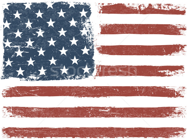 American Flag grunge vector sablon orizontala abstract Imagine de stoc © pashabo
