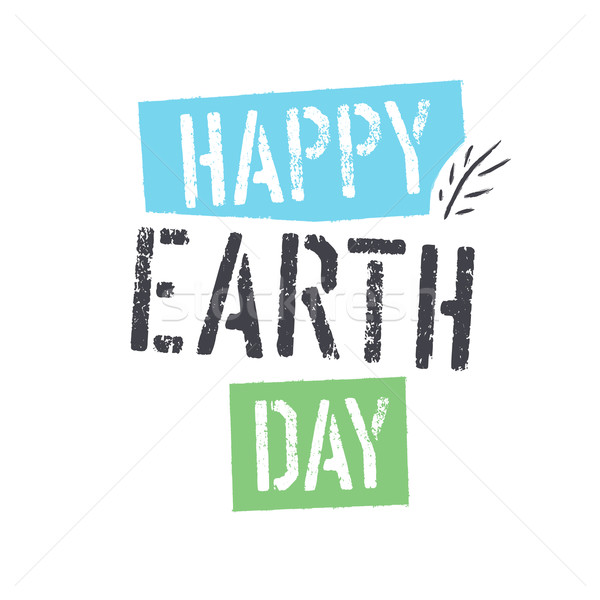 Happy Earth Day. lettering with Leaf Symbol. Isolated logo desig Stock photo © pashabo