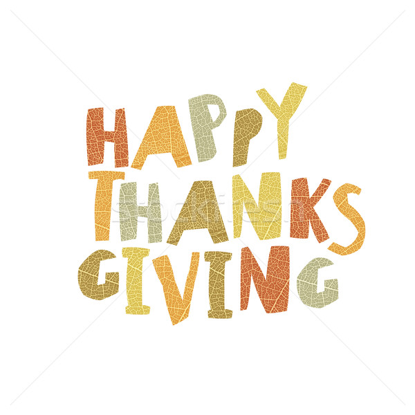 Happy Thanksgiving logotype. Leaf Cut Letters. For holiday greet Stock photo © pashabo