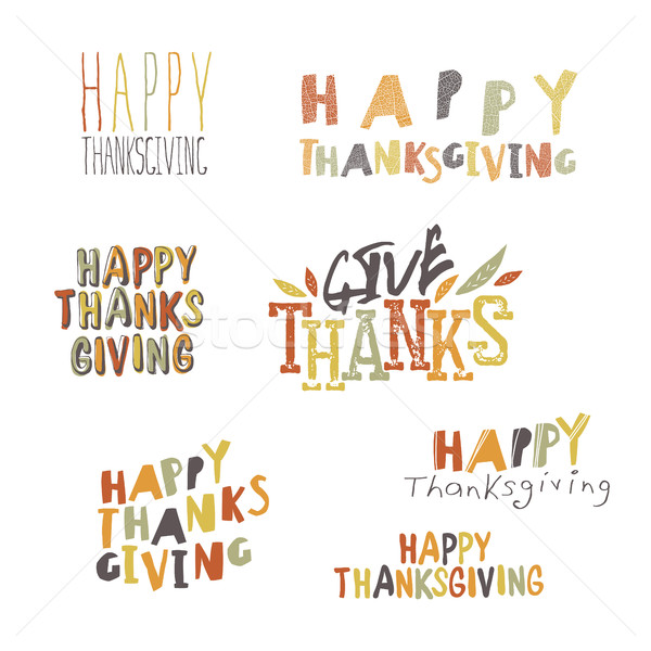 Happy Thanksgiving logotypes set Stock photo © pashabo