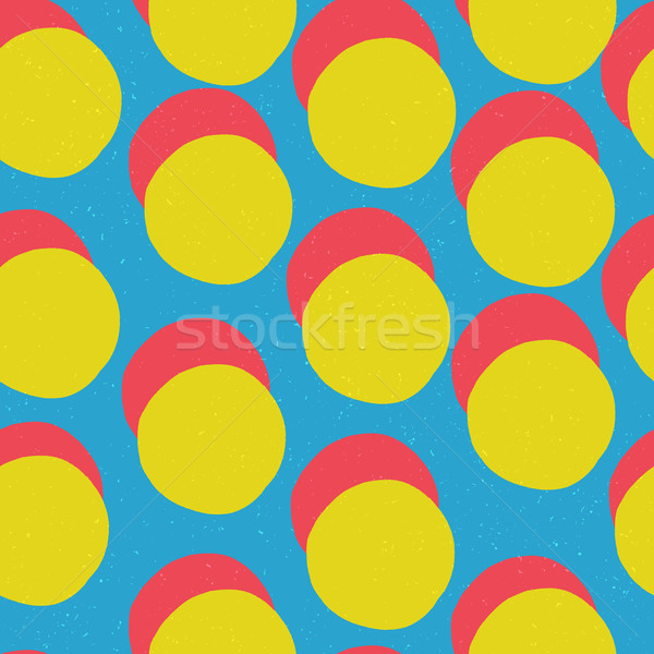 Pop-art style seamless print. Yellow Circles and Red shadow on B Stock photo © pashabo