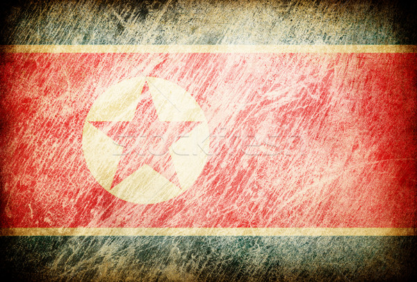 Grunge rubbed flag series of backgrounds. North Korea. Stock photo © pashabo