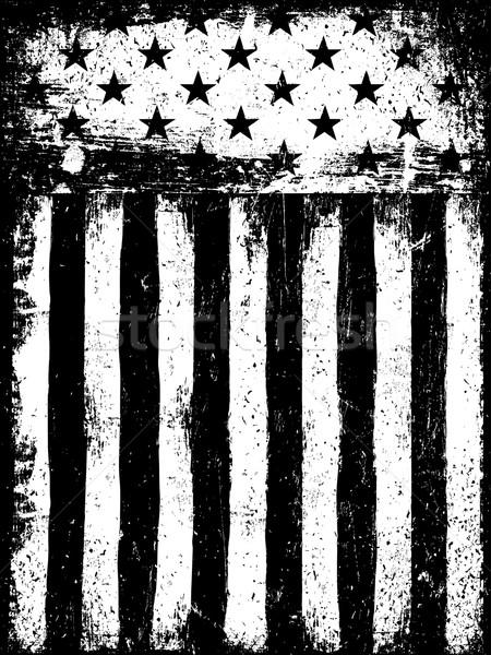 Gwiazdki monochromatyczny negatywne amerykańską flagę grunge Zdjęcia stock © pashabo