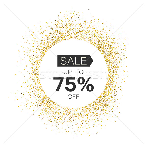White circle with 'Sale' typography in gold sparkles. Isolated o Stock photo © pashabo