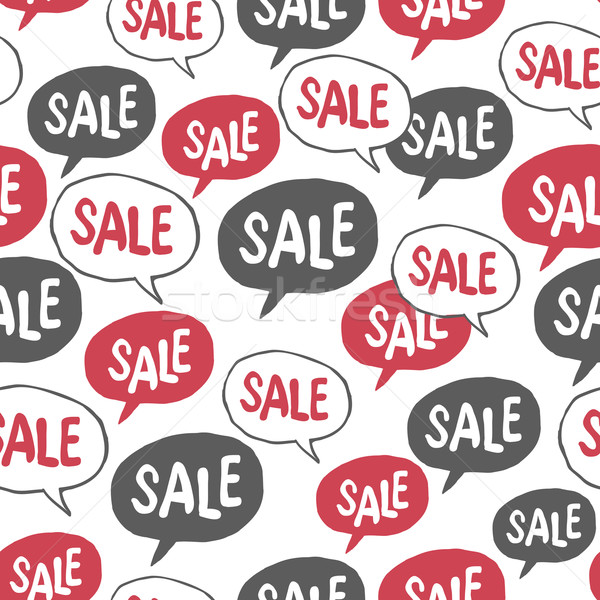 Hand Drawn Speech Bubble with 'Sale' Word. Seamless Pattern Stock photo © pashabo