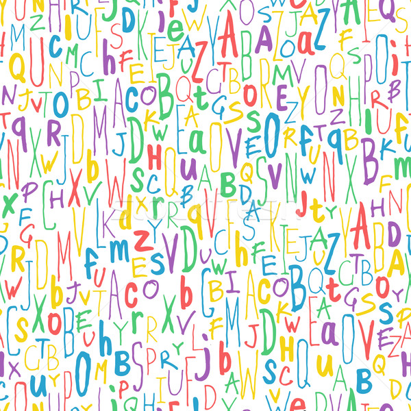 Colorful Different Letters. Alphabet Seamless Pattern. Hand-draw Stock photo © pashabo