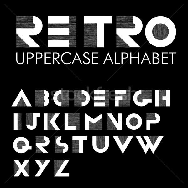 Breed decoratief retro alfabet witte brieven Stockfoto © pashabo