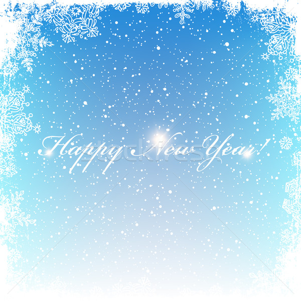 New Year Postcard. Frosty frame. Isolated center area for greeti Stock photo © pashabo