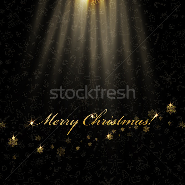 Gelukkig nieuwjaar gouden sneeuwvlokken kerstmis lichten Stockfoto © pashabo