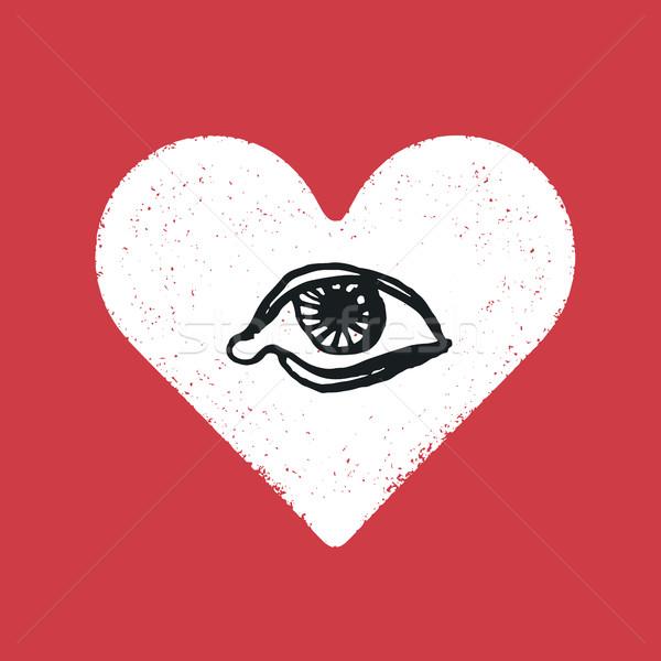 Oka symbol wewnątrz serca romans tekstury Zdjęcia stock © pashabo