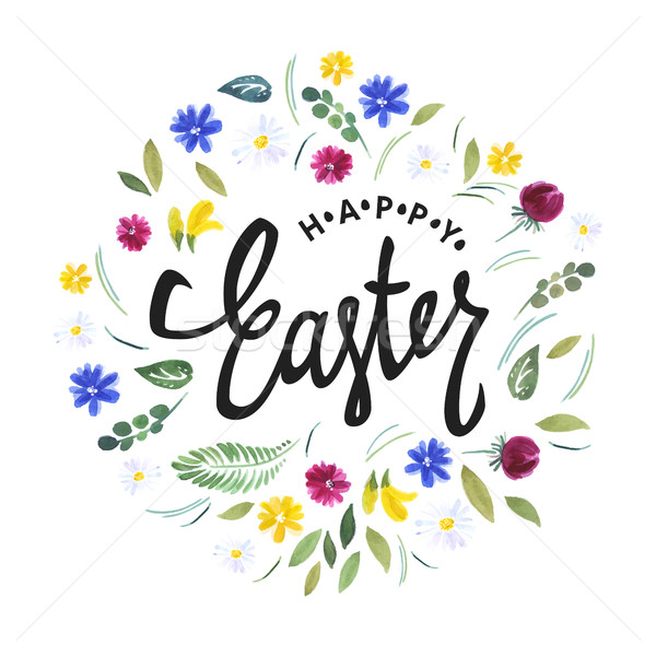 Happy Easter. Watercolor flowers and calligraphy vector greeting Stock photo © pashabo