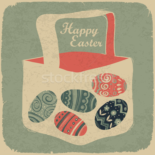 Easter basket with eggs. Retro style easter background. Stock photo © pashabo