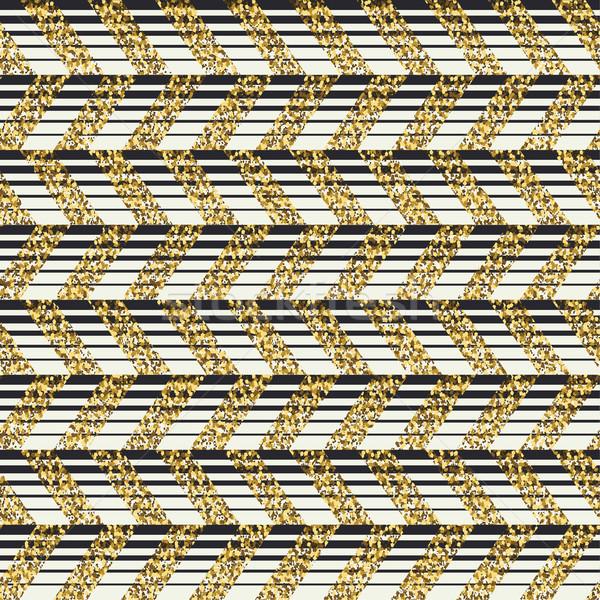 Golden chevron seamless pattern. Horizontal lines faded. Stock photo © pashabo