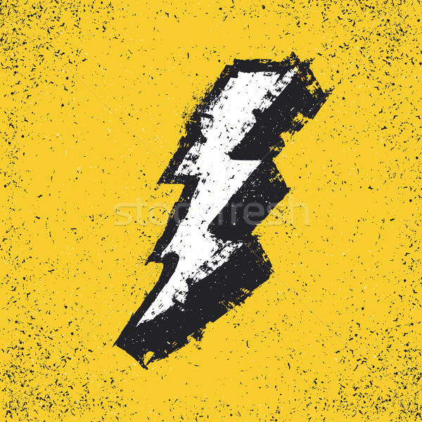 Lightning bolt grunge icon. Thunderbolt vector illustration. Lev Stock photo © pashabo