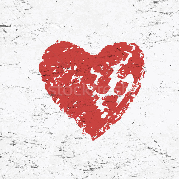 Grunge red heart on monochrome distressed background.  Stock photo © pashabo