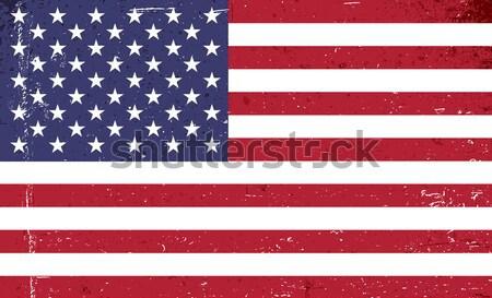 Grunge Amerika bayrak Yıldız mavi Retro Stok fotoğraf © pashabo