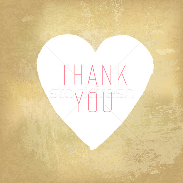 Thank You Card with Heart Symbol on Aged Paper Texture Stock photo © pashabo