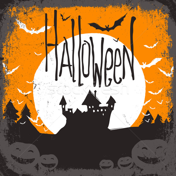 Halloween vector illustration with haunted castle Stock photo © pashabo