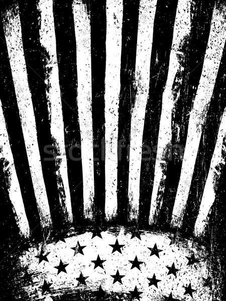 Monochrome Negative Photocopy American Flag Background. Grunge A Stock photo © pashabo