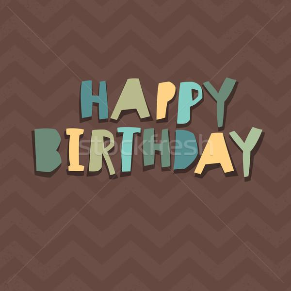 Happy Birthday Card Design. Paper Cut Alphabet. Chevron pattern  Stock photo © pashabo