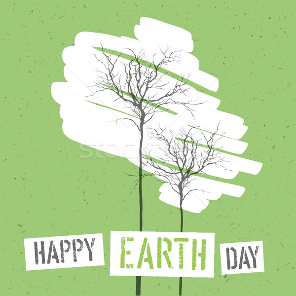 Design for Earth Day. Concept Poster With Trees. On recycled pap Stock photo © pashabo