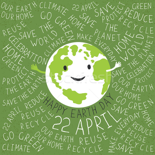 Happy Earth Day Poster. Text around the Earth symbol. Planet smi Stock photo © pashabo