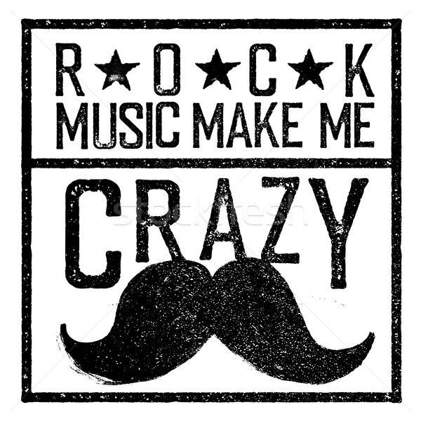 Rock music make me crazy. Tee print design template. Vintage old Stock photo © pashabo