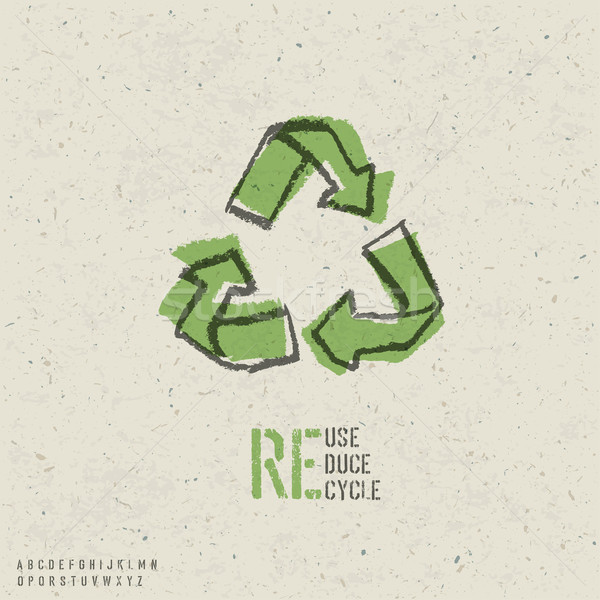 Stock photo: Reuse, reduce, recycle poster design.  Include reuse symbol imag