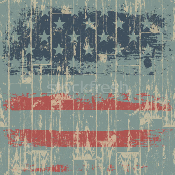 The American flag print against a wooden wall. Vector, EPS10. Stock photo © pashabo