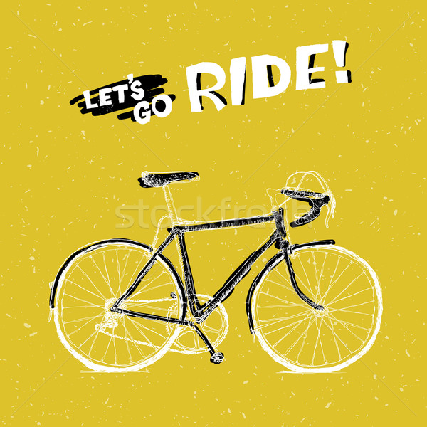 Bicycle Illustration with Phrase 'Let's Go Ride' on Yellow Textu Stock photo © pashabo