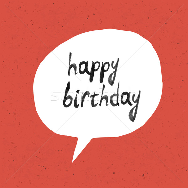 Happy Birthday Lettering On Red Paper Texture Stock photo © pashabo