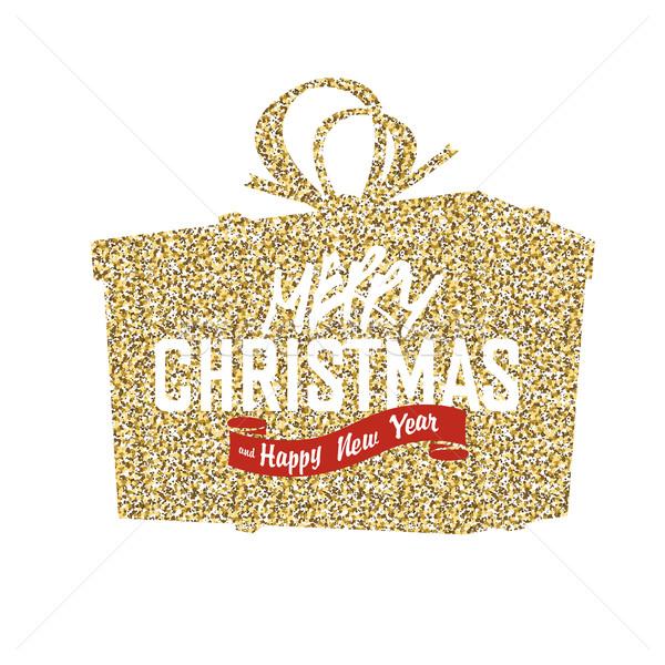 Heiter Weihnachten Geschenkbox golden Oberfläche Stock foto © pashabo