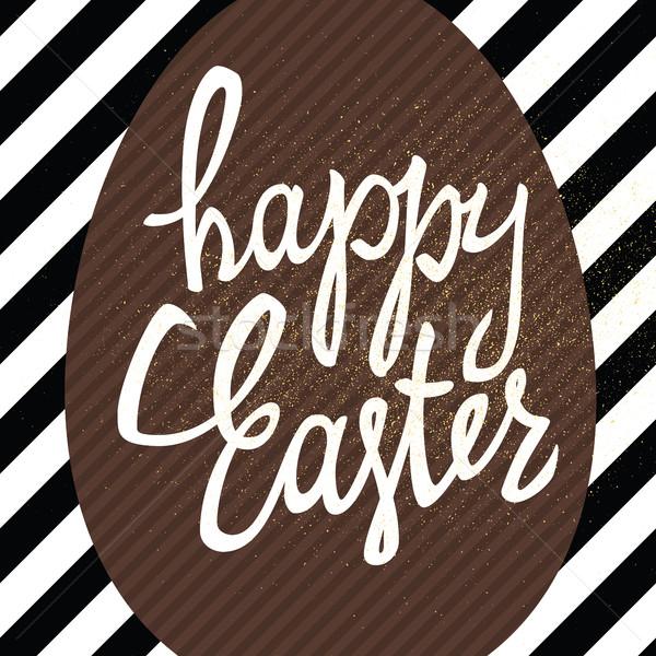 Kellemes húsvétot kalligráfia üdvözlőlap átló vonalak minta Stock fotó © pashabo